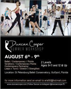 DUNCAN COOPER SUMMER WORKSHOP @ St. Petersburg Ballet Conservatory St.(Aug.6-9th)