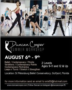 DUNCAN COOPER SUMMER WORKSHOP @ St. Petersburg Ballet Conservatory St.(Aug.6-9th)